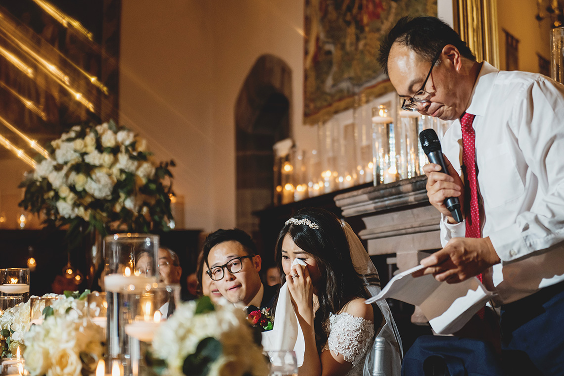 bride crying at her father's wedding speech