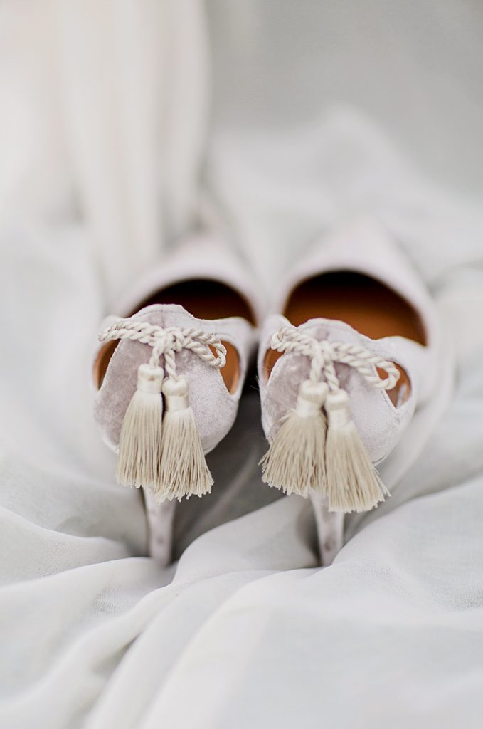 grey velvet heels with tassels perfect for wedding shoes
