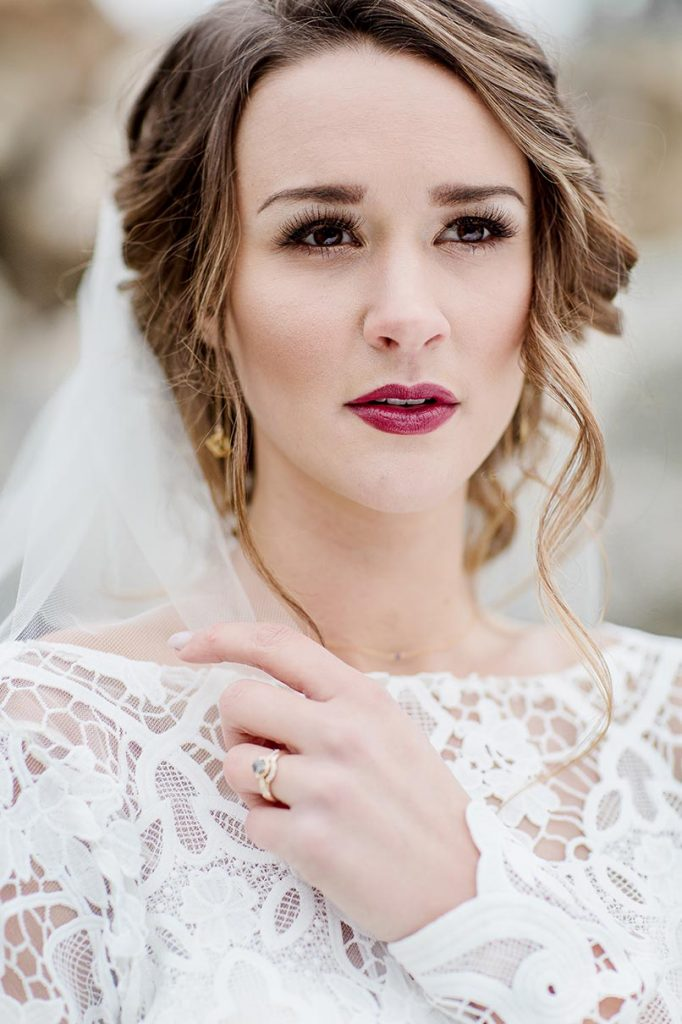 bridal beauty look with deep red lip colour
