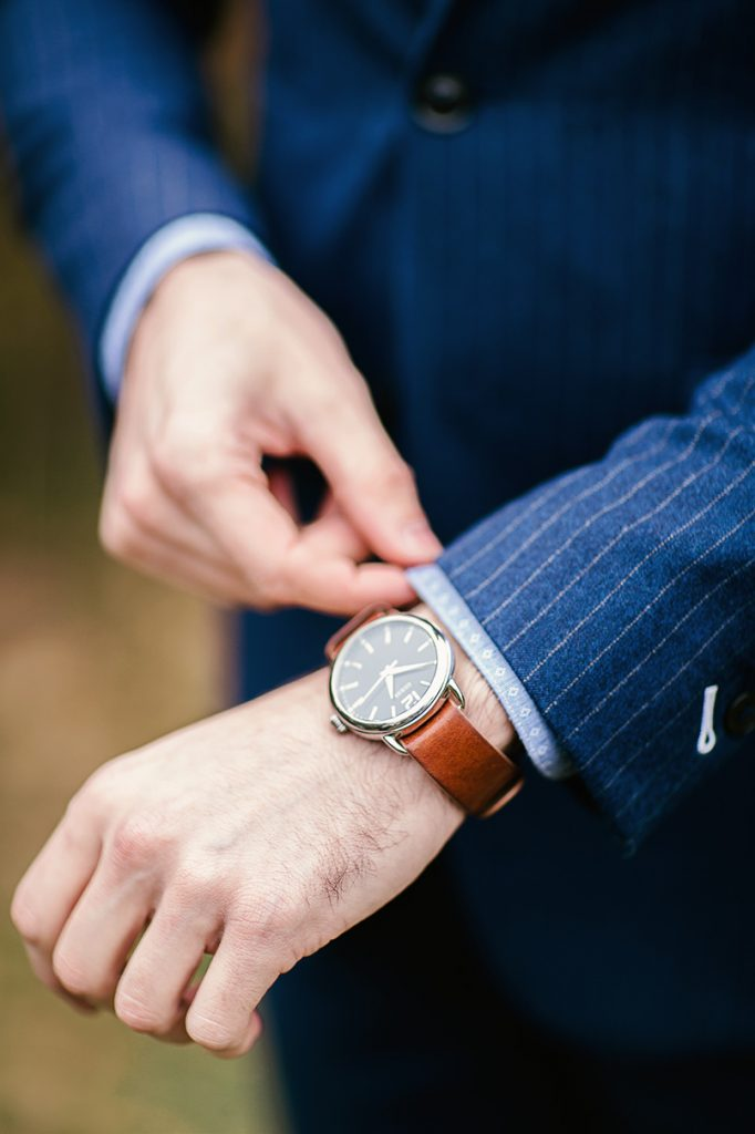 groom's tan leather watch