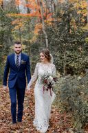 woodland bride and groom portrait