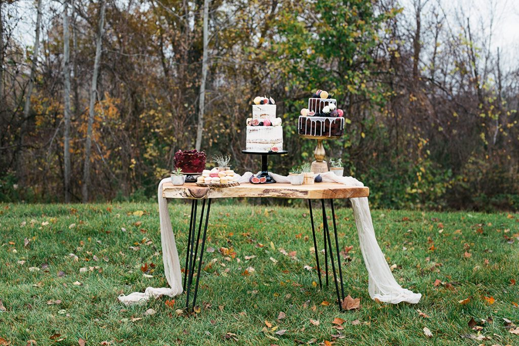 outdoor wedding cake table