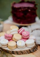 colourful wedding macarons with gold leaf