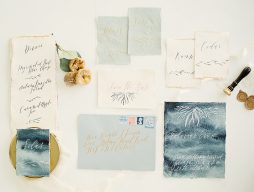 watercolour and calligraphy wedding stationery suite in blue and white