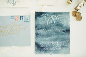 watercolour and calligraphy wedding stationery