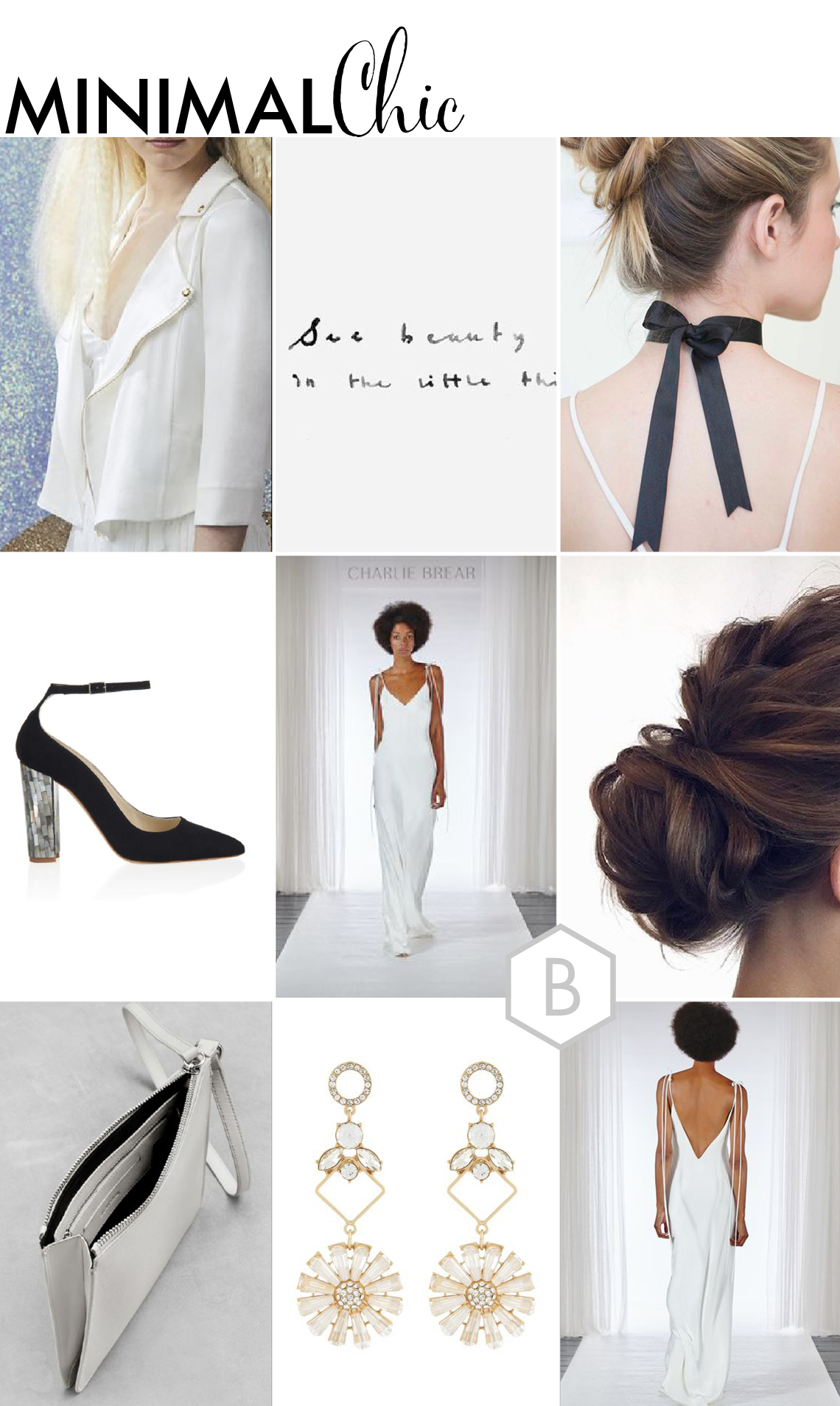 bridal fashion moodboard with a sleek modern look