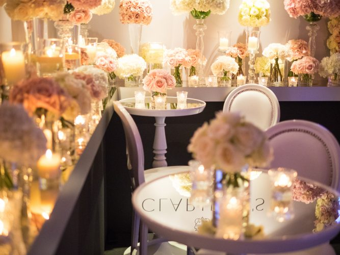 luxurious glass tables for weddings