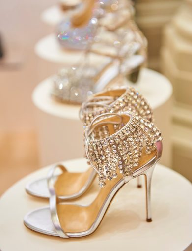 designer wedding shoes with rows of crystals