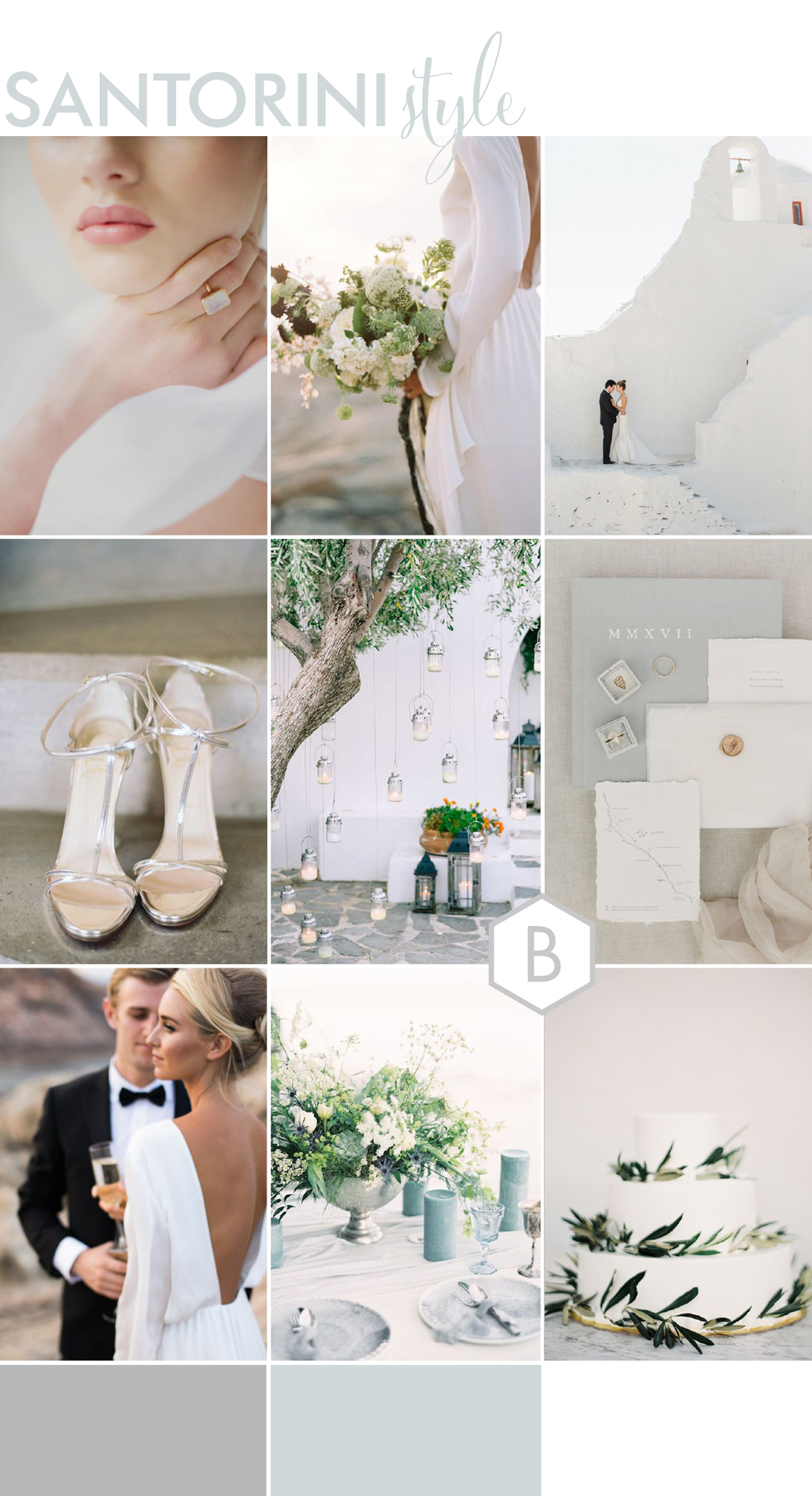 santorini wedding ideas with a white grey and blue palette