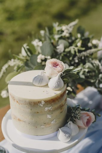 single tier undressed naked wedding cake with meringue kisees and roses