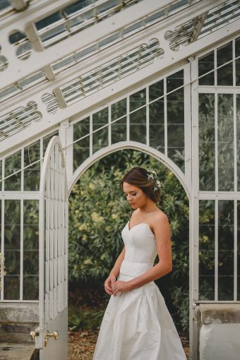 bridal portrait in classic conservatory