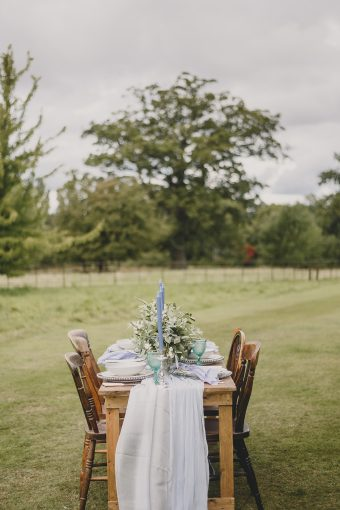 wedding reception table setting outside