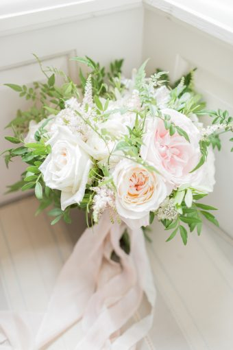romantic wedding bouquet of pink white and green by amber persia