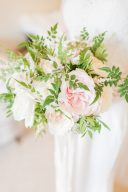 pretty bridal bouquet of pink and green flowers by amber persia