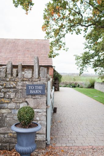 entrance and signage for almonry barn