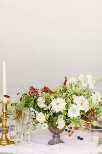 romantic wedding floral centrepiece