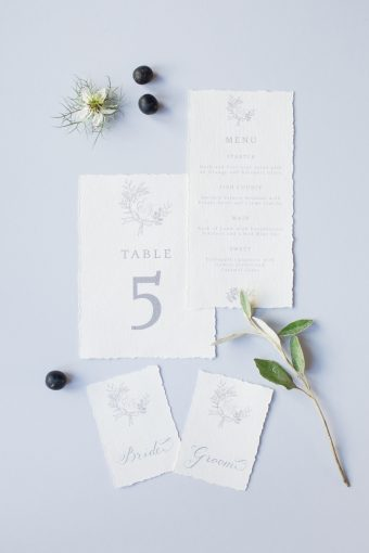 calligraphy wedding stationery suite in white and grey