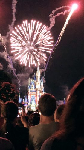 fireworks over cinderellas castle at disney world florida