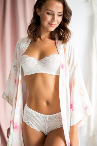 bridal lingerie by wonderbra with pink watercolour print silk robe