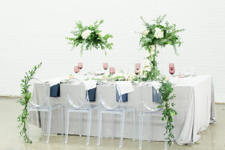 Modern Wedding with Muted Colours, Draping Greenery + Soft Velvet