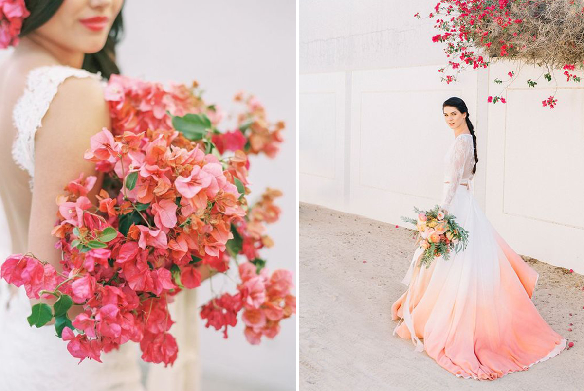 K'Mich Weddings - wedding planning - dip dyed dresses - Pantone Color - Living Coral - Bride with dip dyed dress in coral