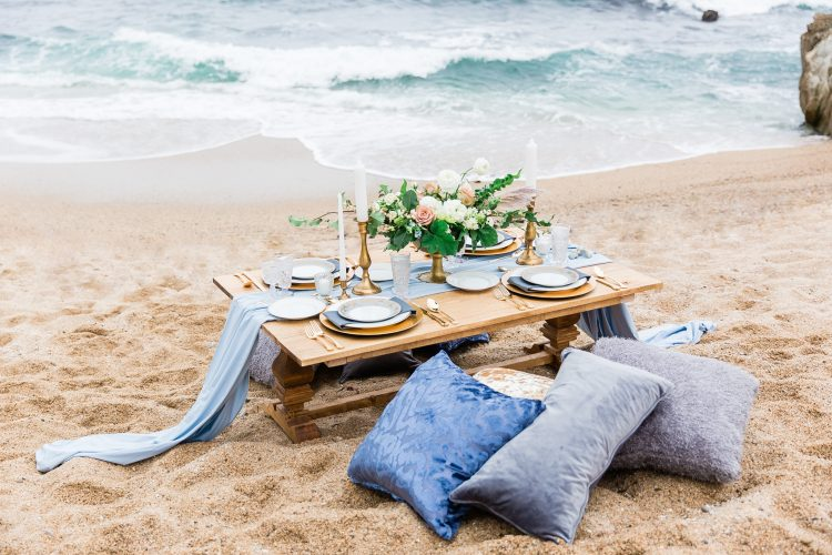 Romantic Beach Wedding Ideas with Blue and Gold Colour Palette
