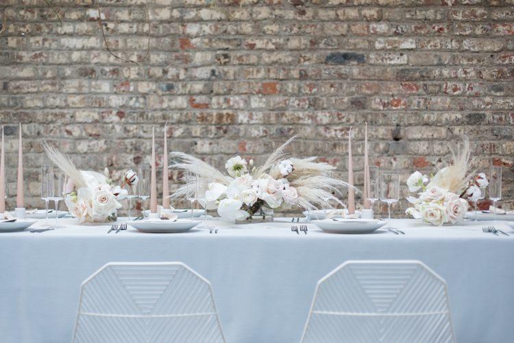 Modern Blue + White Wedding Table Styling with an Industrial Luxe Meets Boho Vibe