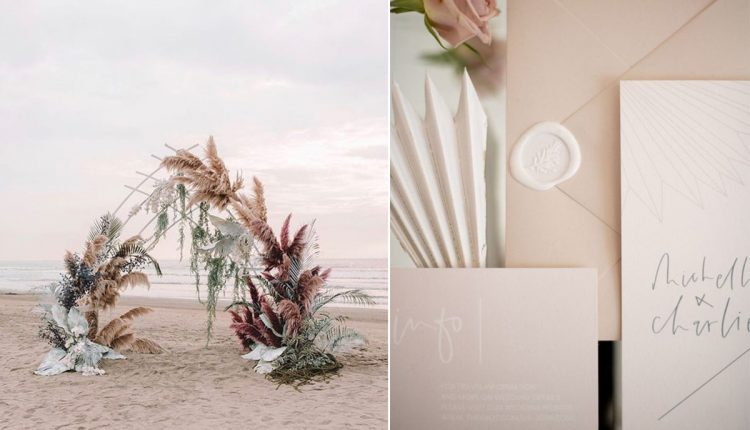 modern beach destination wedding ideas with palm arch for the ceremony