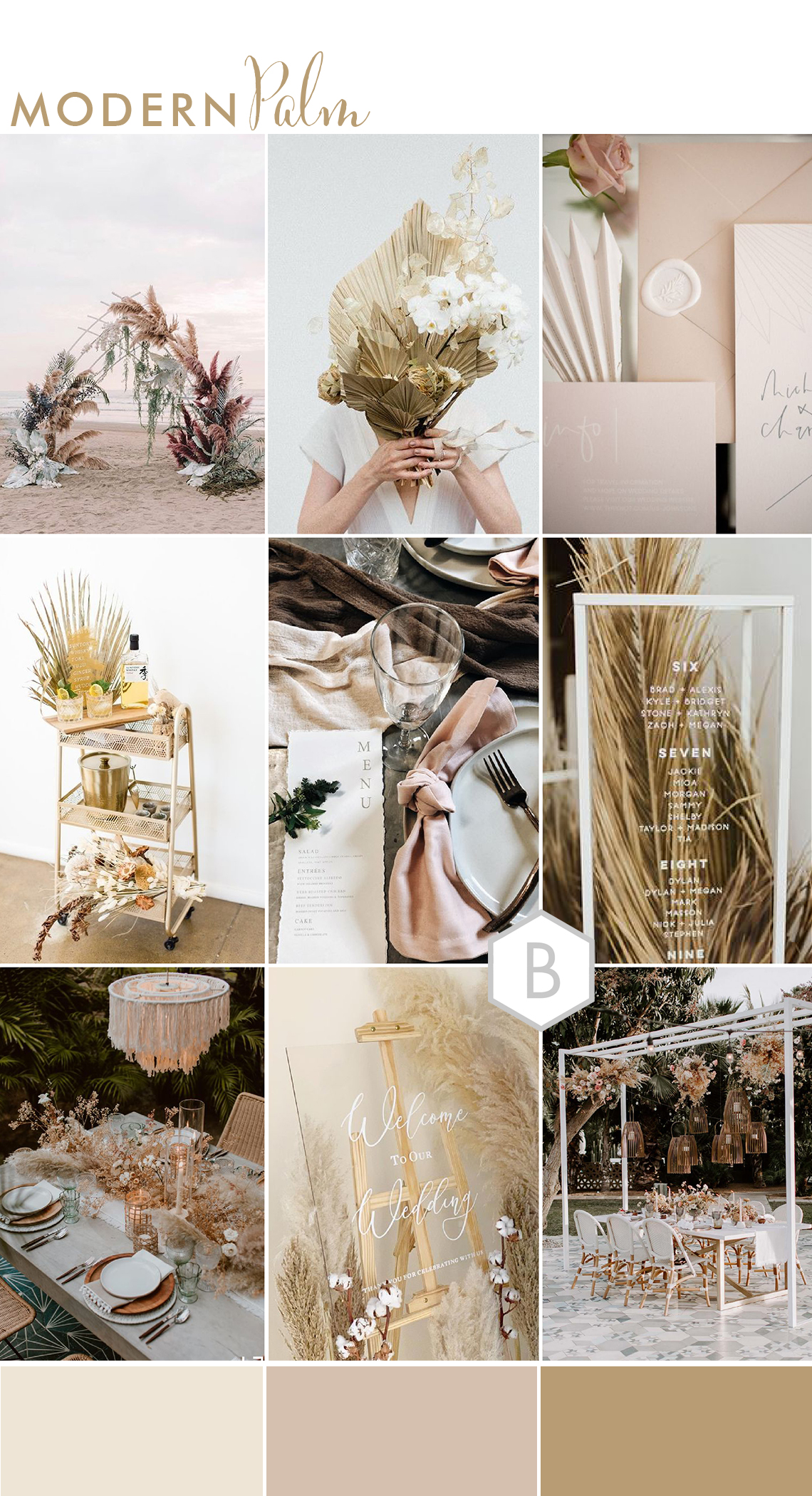 wedding moodboard ideas for modern relaxed beach destination wedding with dried palm leaf trend