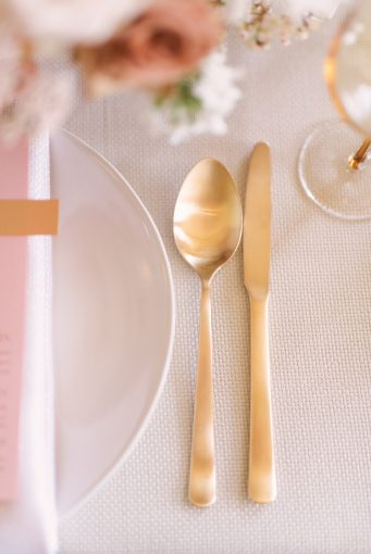 modern gold cutlery place setting