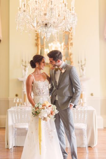 bridal portraits with yellow, blush and grey
