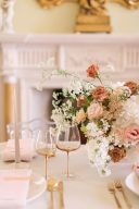 muted blush and gold wedding tablescape