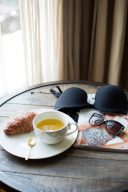 monochrome breakfast lingerie styling