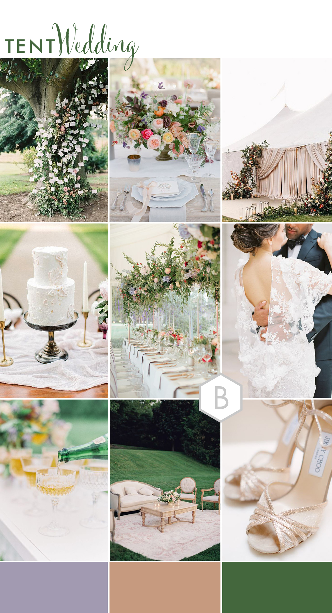 moodboard of ideas for modern tent and marquee wedding in a romantic garden setting