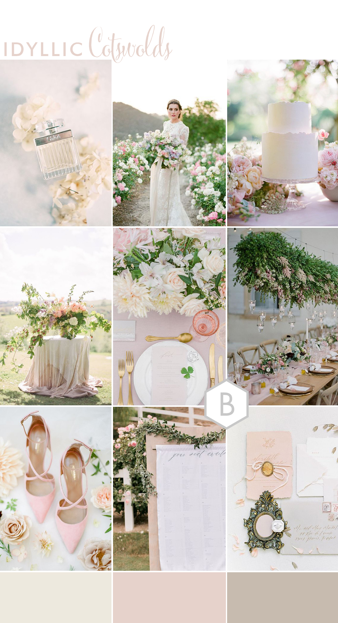 exploring ideas for an idyllic wedding in the cotswolds with a pink colour palette