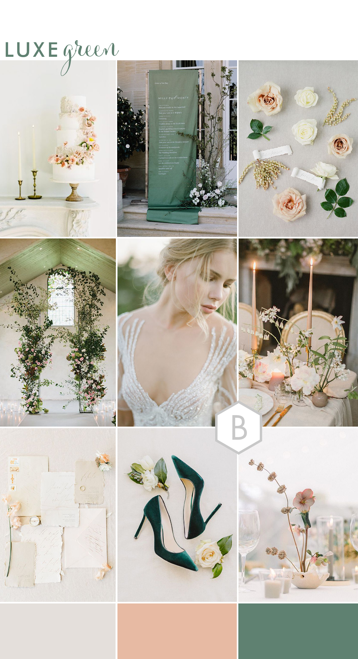 wedding ideas moodboard in green with luxury details