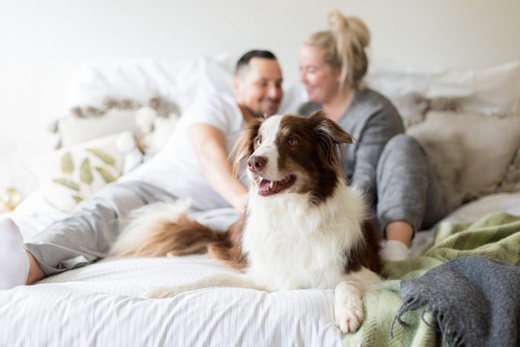 family photo with their furbaby pet dog