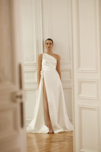 Fashionable one sleeve wedding dress by Dana Harel