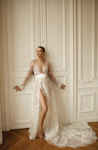 wedding dress with sheer puff long sleeve by Dana Harel