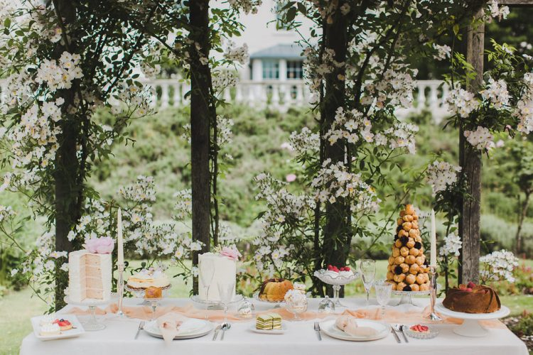 Romantic Garden Wedding at Coworth Park with the Prettiest Desserts + Cakes!