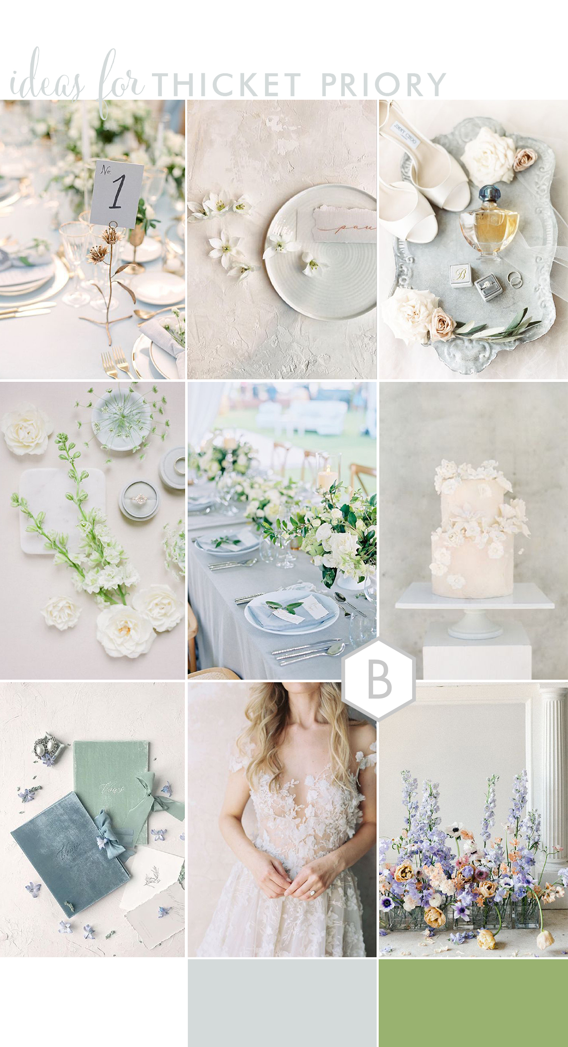 Summer wedding ideas for Thicket Priory in blue and white
