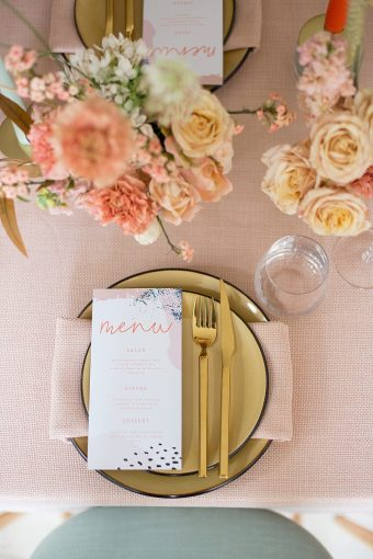 gold mustard peach place setting