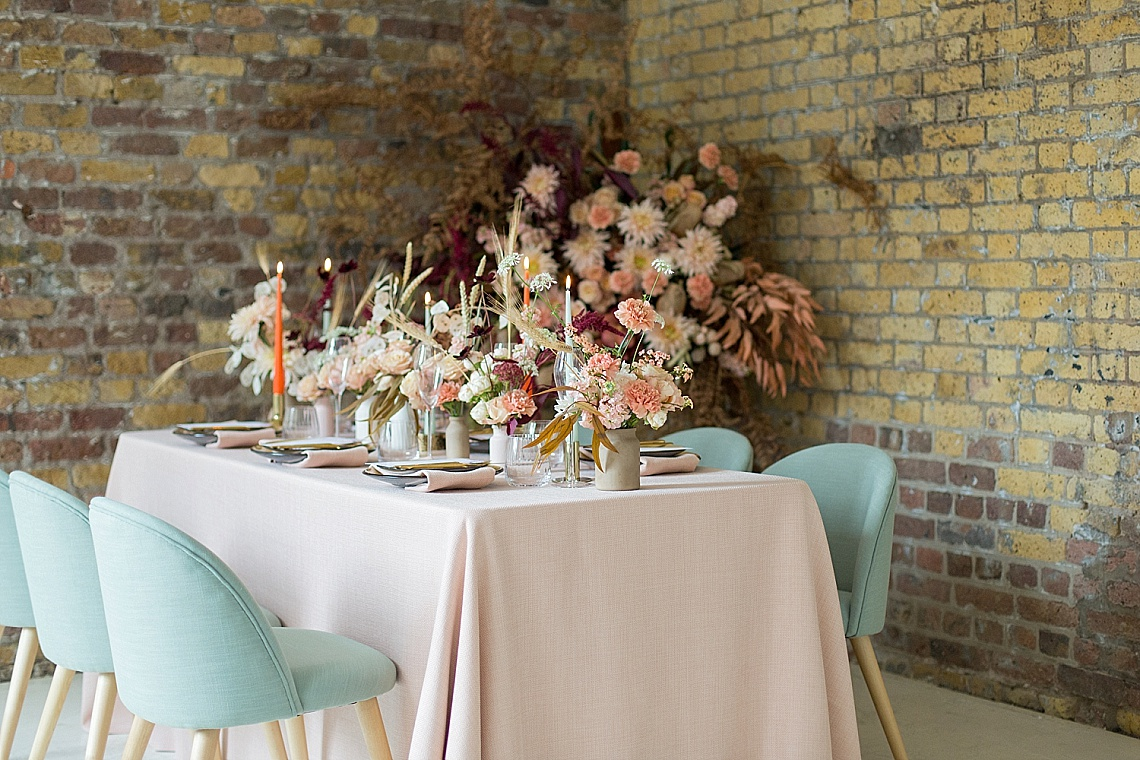 peach and sage green wedding tablescape