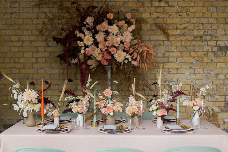 modern spring wedding flowers with textures