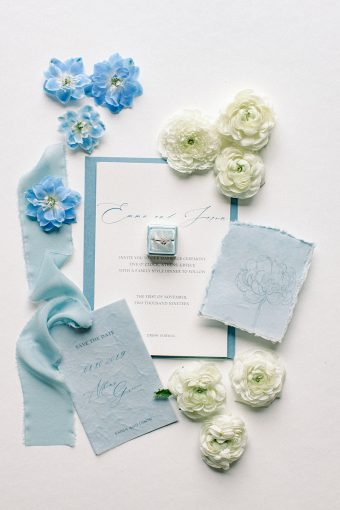 modern blue white greek wedding inspiration