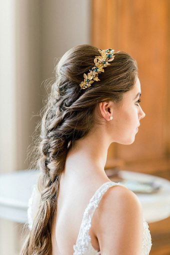 timeless romantic bridal fishtail braid with gold headpiece