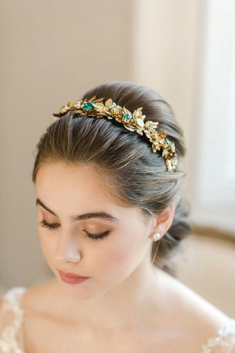 timeless romantic wedding headpiece gold