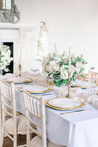 blush gold romantic wedding table