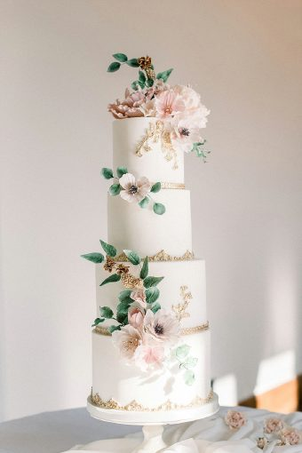 blush gold floral wedding cake