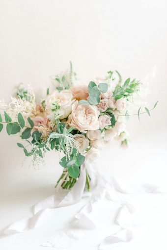 timeless romantic rose and foliage bouquet